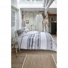 Set lenjerie de pat cu 2 fete de perna bumbac Fishing Net cu model albastru cu gri