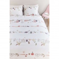 Set lenjerie de pat cu 2 fete de perna bumbac Floral Garland cu motive florale pe fond alb
