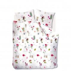 Set lenjerie de pat cu 2 fete de perna bumbac Floral Wall cu flori multicolore pe fond alb