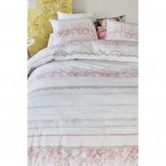 Set lenjerie de pat cu 2 fete de perna bumbac Field Patch roz pal cu model floral