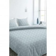 Set lenjerie de pat cu 2 fete de perna bumbac Jent albastru turcoaz cu model geometric