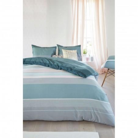 Set lenjerie de pat cu 2 fete de perna bumbac satinat Kata pastel cu dungi late bleu turcoaz