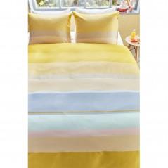Set lenjerie de pat cu 2 fete de perna bumbac satinat Kata cu dungi late galben si bleu