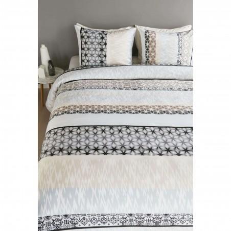 Set lenjerie de pat cu 2 fete de perna bumbac satinat Portland pastel cu imprimeu geometric