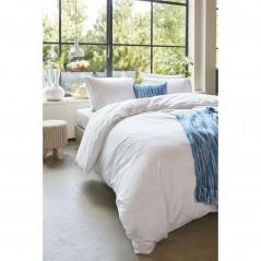 Set lenjerie de pat cu 2 fete de perna bumbac Basic model simplu alb
