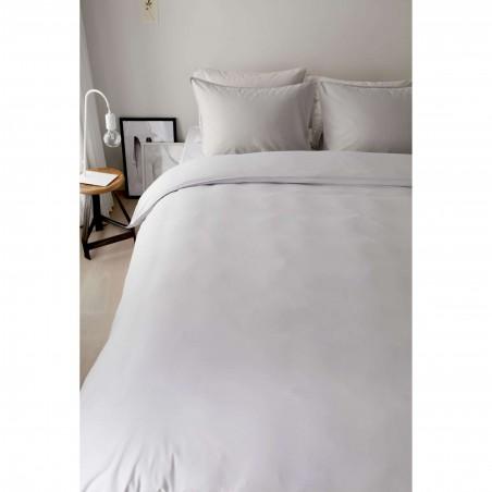 Set lenjerie de pat cu 2 fete de perna bumbac Basic model simplu gri deschis