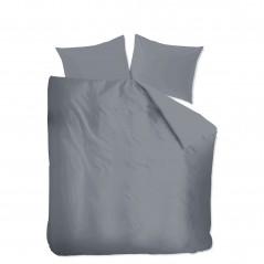 Set lenjerie de pat cu 2 fete de perna bumbac Basic model simplu gri