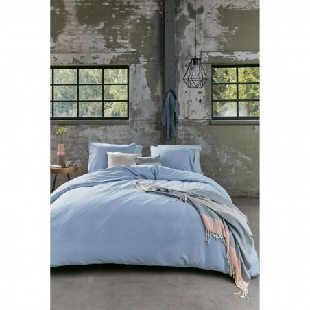 Set lenjerie de pat cu 2 fete de perna bumbac Basic model simplu albastru