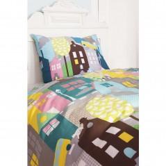 Set lenjerie de pat pentru copii cu 1 fata de perna Houses cu casute multicolore