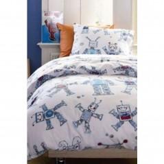 Set complet lenjerie de pat pentru baieti cu 1 fata de perna Funny Robots cu roboti albastrii