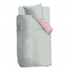Set lenjerie de pat pentru fetite cu 1 fata de perna Faas verde cu alb si roz