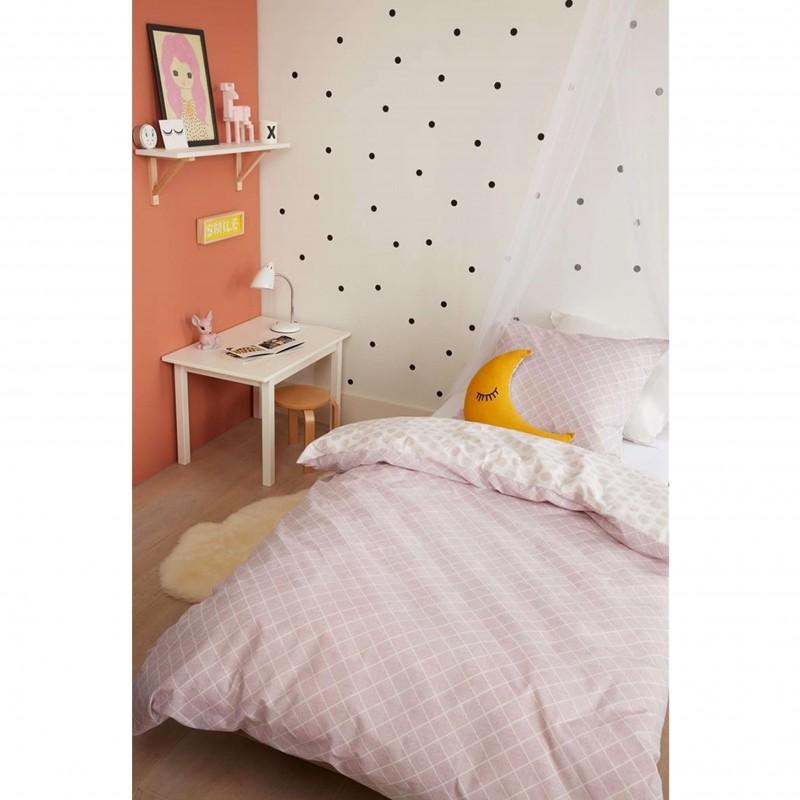 Set lenjerie de pat pentru fetite cu 1 fata de perna Noolah cu model geometric roz pal