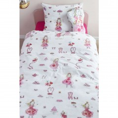 Set lenjerie de pat pentru fetite cu 1 fata de perna Birthday Fairy cu zane si torturi roz