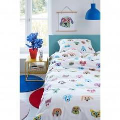 Set lenjerie de pat pentru copii cu 1 fata de perna In Your Face cu catelusi multicolori