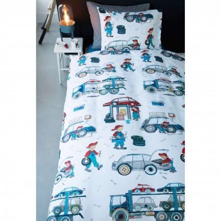 Set lenjerie de pat baieti cu 1 fata de perna Car Tools cu reparatii masinute