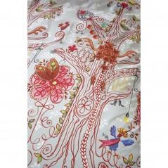 Set lenjerie de pat fete cu 1 fata de perna Tree cu copacei stilizati pe fond gri