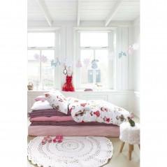 Set lenjerie de pat fetite cu 1 fata de perna Cute Princess cu printese roz pe fond alb