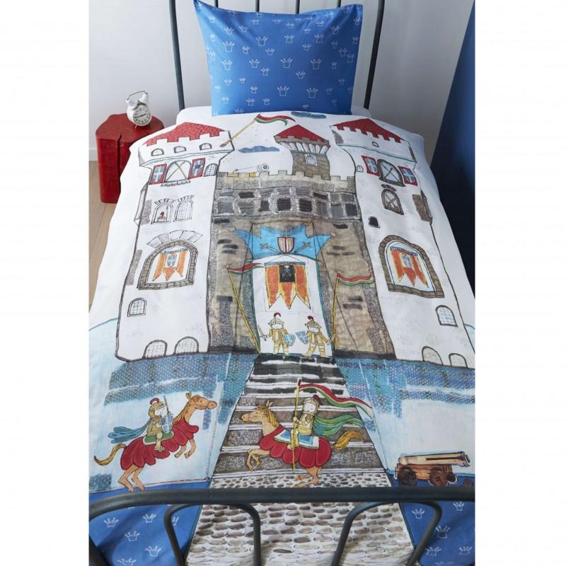 Set lenjerie de pat baieti Knight Castel albastru cu cavaleri si castel