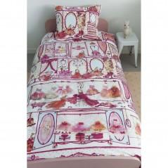 Set lenjerie de pat fetite cu 1 fata de perna Princess Wardrobe roz cu rochite de printese