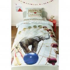 Set lenjerie de pat copii cu 1 fata de perna Carusel Circus cu elefant si carusel