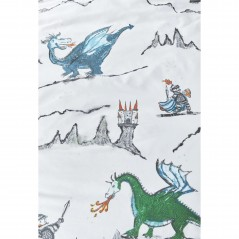 Set lenjerie de pat baieti cu 1 fata de perna Dragons cu castele si dragoni albastrii si verzi