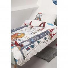 Set lenjerie de pat baieti cu 1 fata de perna Dragon Castle gri cu un castel si cavalerii lui