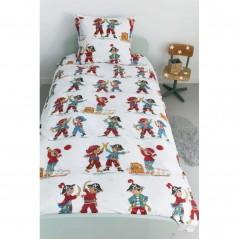 Set lenjerie de pat baieti cu 1 fata de perna Pirates cu pirati colorati
