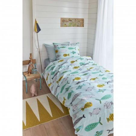 Set lenjerie de pat copii cu 1 fata de perna Fishy cu pesto colorati pe fond verde albastrui