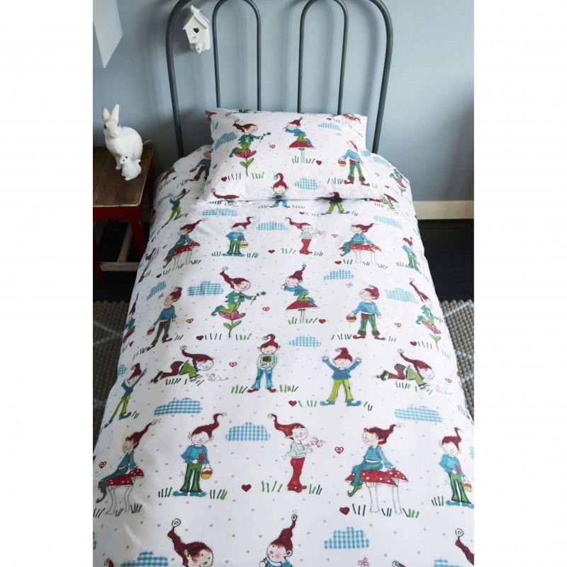 Set lenjerie de pat copii cu 1 fata de perna Gnomes cu spiridusi colorati