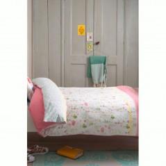 Set lenjerie de pat fetite cu 1 fata de perna Sea of Flowers cu imprimeu floral