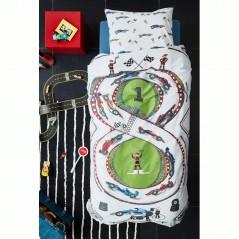 Set lenjerie de pat pentru baieti cu 1 fata de perna Race Track cu pista si cursa de masini