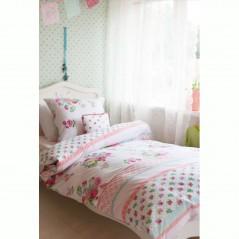Set lenjerie de pat fete cu 1 fata de perna Rosy cu imprimeu floral