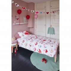 Set lenjerie de pat fete cu 1 fata de perna Garland cu inimioare rosii