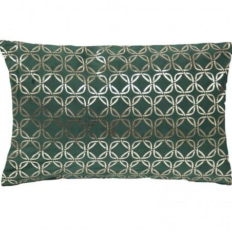 Perna decorativa dreptunghiulara Italian Velvet cu cercuri aurii pe fond verde