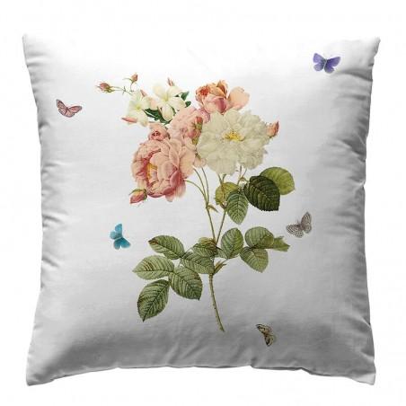 Perna decorativa eleganta Loneta Tualum alb cu floare colorata