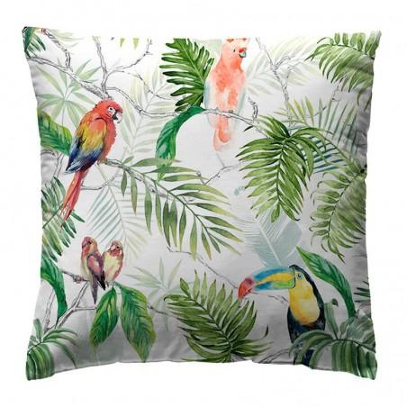 Perna decorativa vesela Loneta Catey Green cu papagali colorati