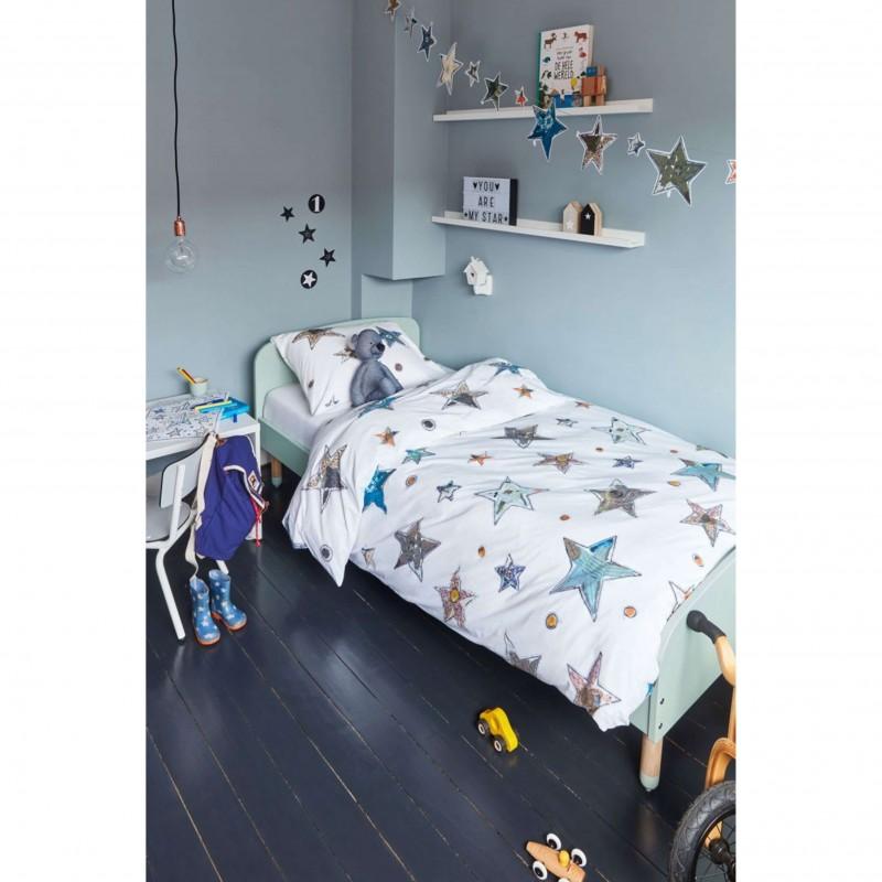 Set lenjerie de pat copii cu 1 fata de perna Lots of Stars cu stelute colorate