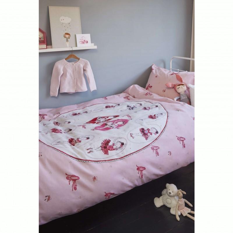 Set lenjerie de pat fete cu 1 fata de perna Ballet cu balerine roz