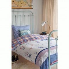 Set lenjerie de pat copii cu 1 fata de perna Captain Ahoy alb cu albastru