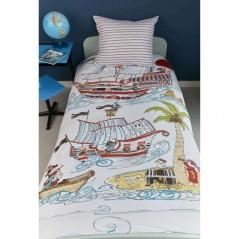 Set lenjerie de pat baieti cu 1 fata de perna Pirate Ship cu nave si pirati