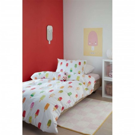 Set lenjerie de pat copii cu 1 fata de perna Ice Cream cu inghetata colorata