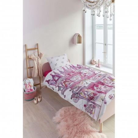 Set lenjerie de pat fete cu 1 fata de perna Fairy Palace cu printese si palat roz