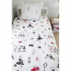 Set lenjerie de pat fete cu 1 fata de perna Paris Girl cu simboluri elegante