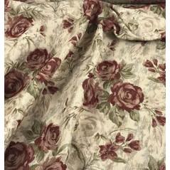 Metraj stofa draperie si tapiterie bej cu flori grena