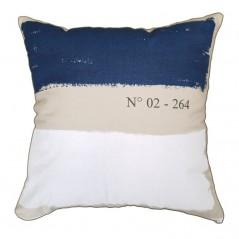 Perna decorativa cu 2 fete cu dungi late albastre si bej