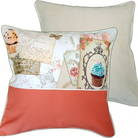 Set 2 perne decorative cu 2 fete crem cu portocaliu