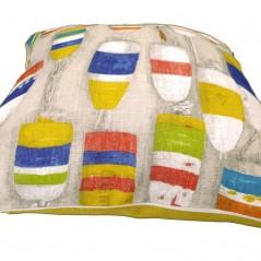 Perna decorativa cu 2 fete model colorat pe gri cu galben mustar