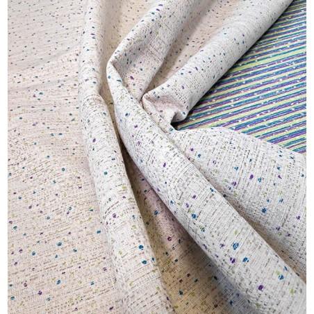 Material bumbac draperie si tapiterie Azaro Punto bej cu puncte mov si verzi