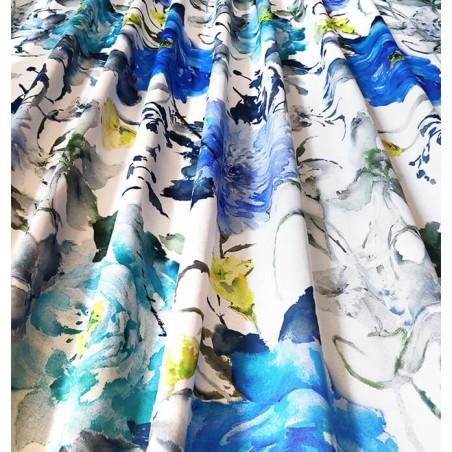Material draperie dim-out cu flori colorate Abril Allov Azul