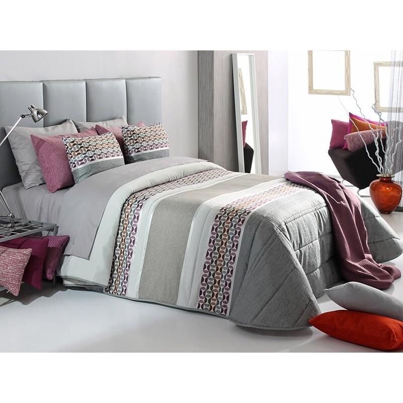 Cuvertura de pat Fergus cu design modern in nuante de grej